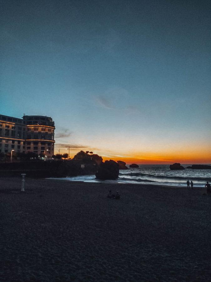 The sun setting down on the main beach in Biarritz France