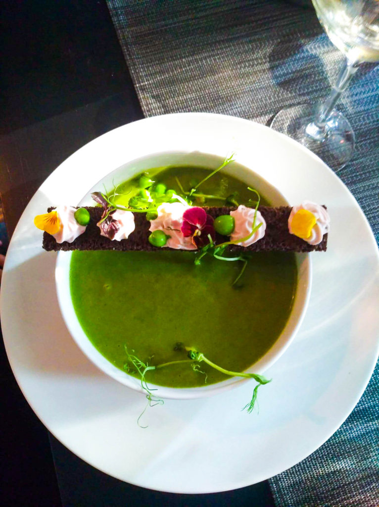 The peas soup at gastronomic vegan restaurant in Paris Gentle Gourmet