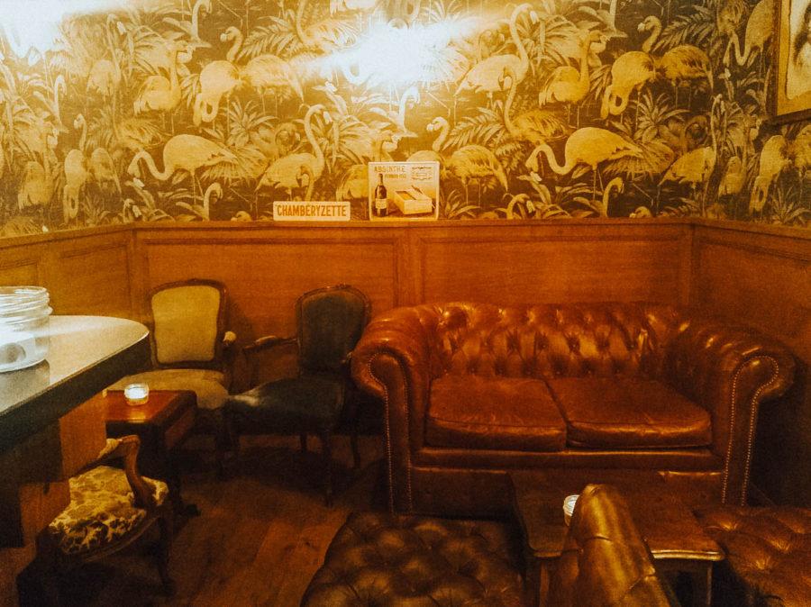 The interior of La Mercerie speakeasy bar in Grenoble