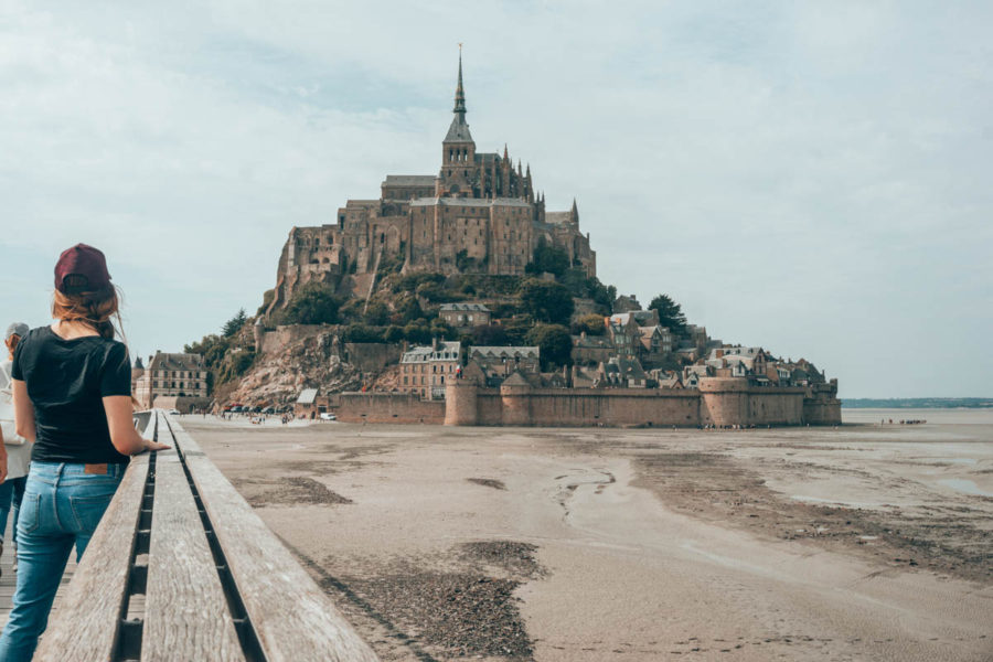 Fortress of the Mont Saint Michel seen from the bridge