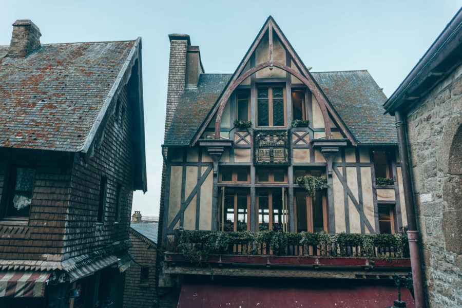 Cute little timbered building on the Grand Rue in Mont St Michel