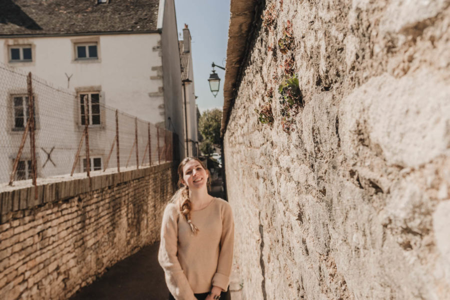 Alice laughing in Beaune