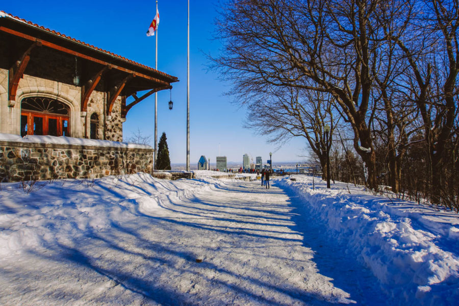 Arriving on the Mount Royal belvedere in Montreal in March