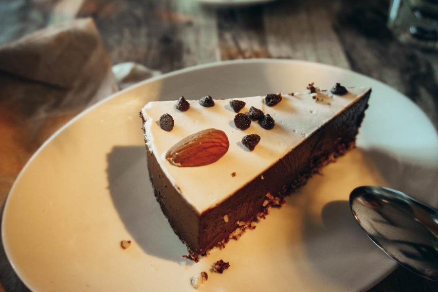 My vegan chocolate cake at Lola Rosa vegan restaurant in Montreal