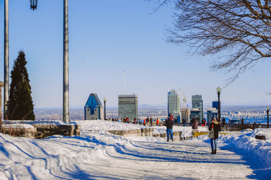 Nice snowy view of Montreal skyline in March and the belvedere at Mount Royal