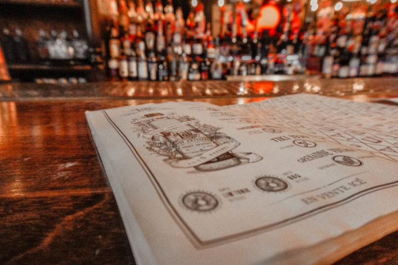 The Lab bar menu in Montreal