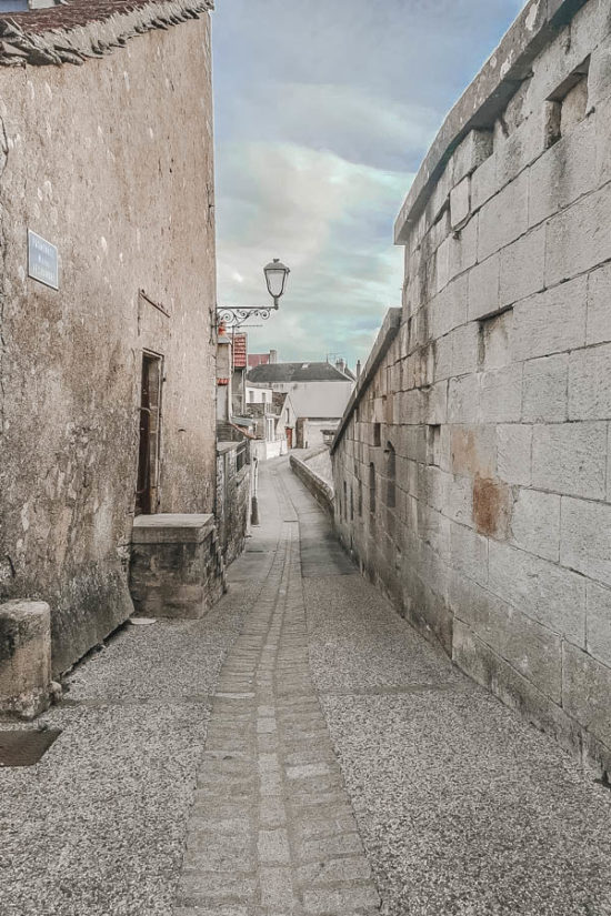 Walking on the ramparts in the medieval town of Langres France