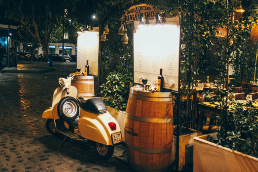 Charming typical restaurant in Trastevere in Rome