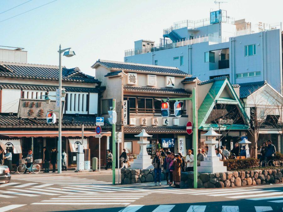 Crossroad in Kamakura Japan