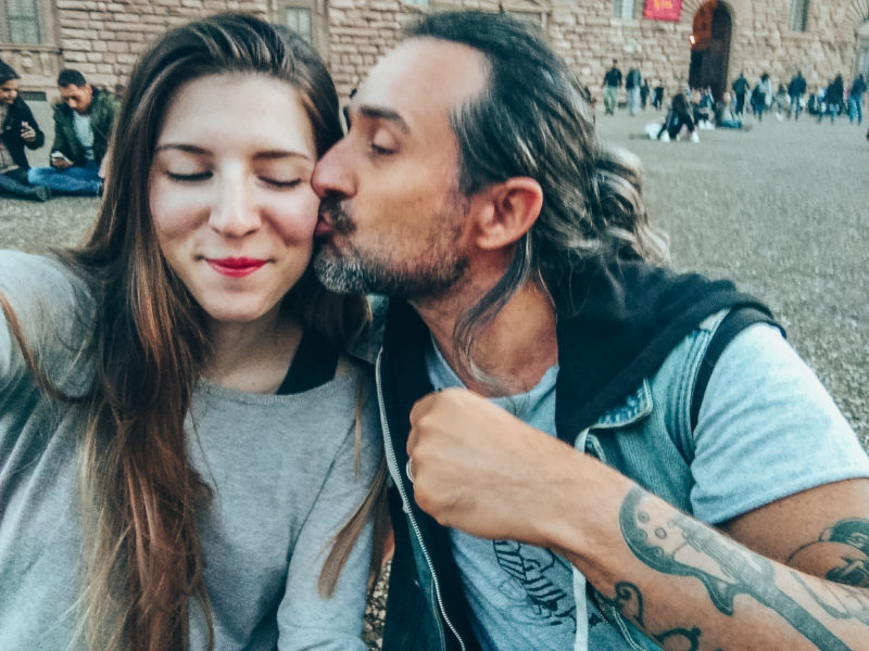 Alice and Simone kissing in Florence Italy