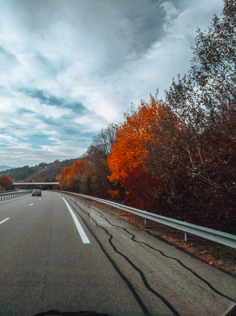 On the road between Italy and France in our camper van 3