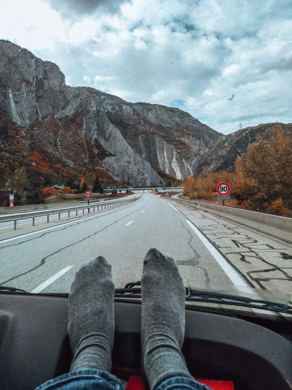 On the road between Italy and France in our camper van 4