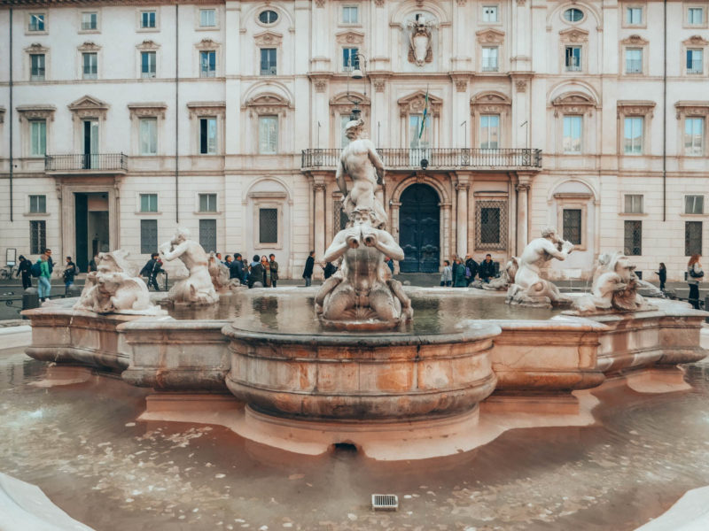 One of the fountains on Piazza Navona