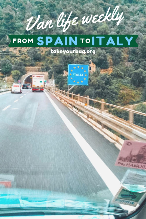 Our van trip in Europe. Driving from Spain to Italy. Going from Costa de Mar to Rome in a camper van