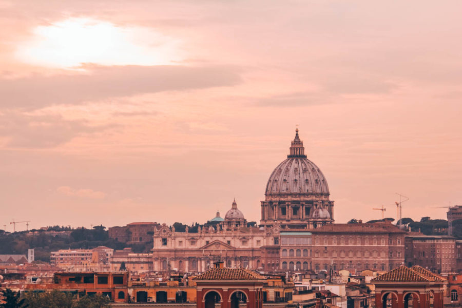 View of Rome at dusk from the Garden of Oranges