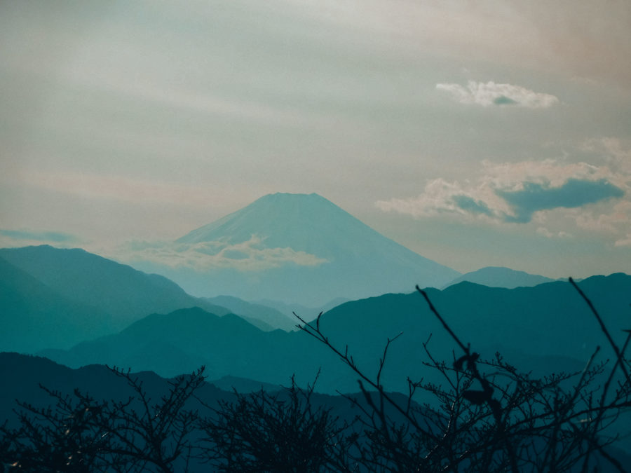 The view of Mount Fuji from Mount Takao on a Day trip from Tokyo in winter