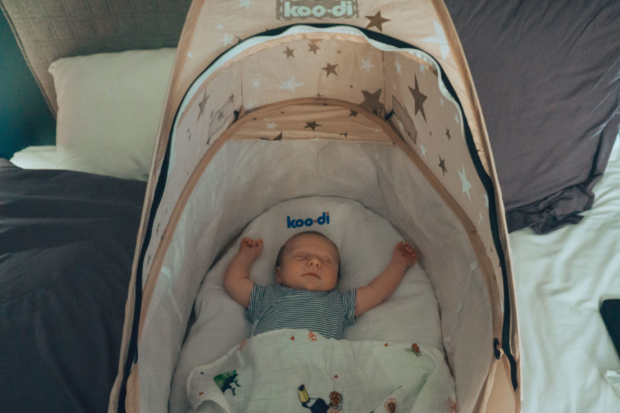 Baby asleep in the Koo-di travel bassinet