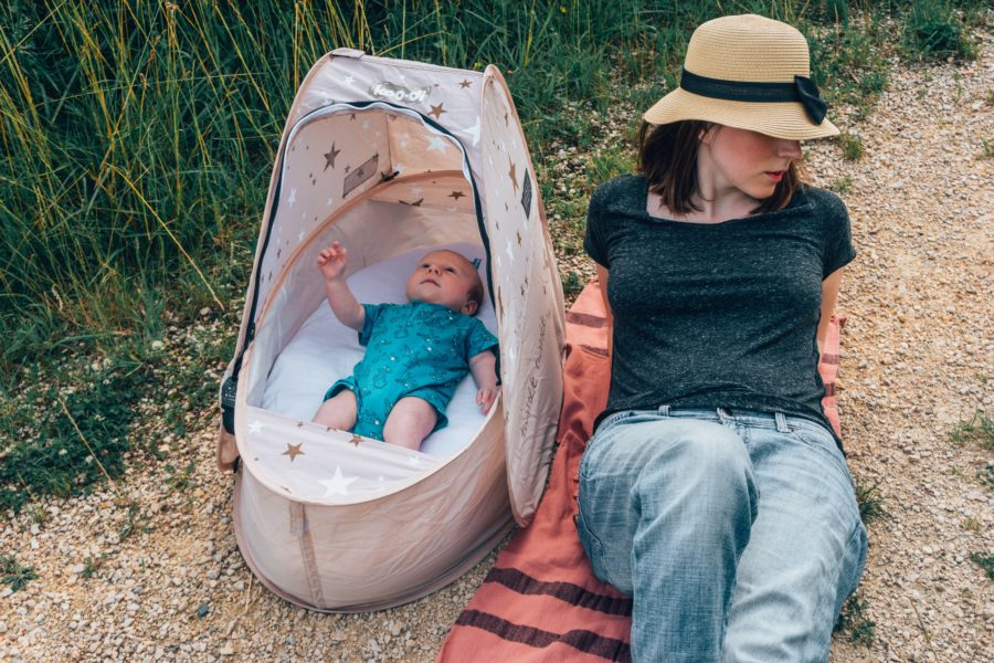 Koo-di travel bassinet on a day out