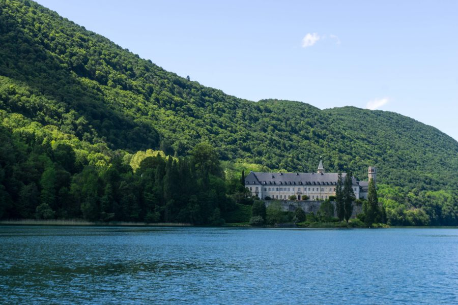 The Lake Bourget and the abbey afar