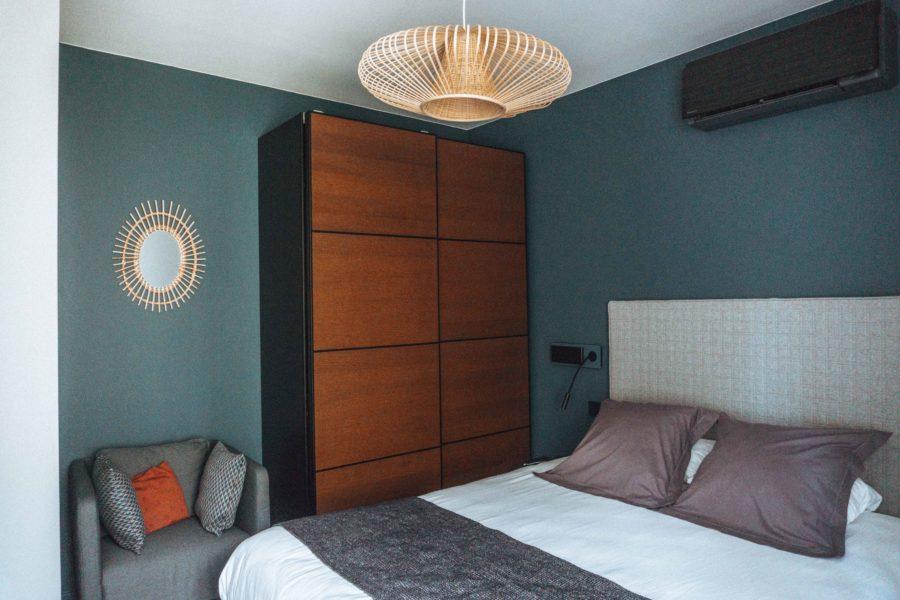 The bedroom in our suite at Hôtel des Eaux in Aix les Bains