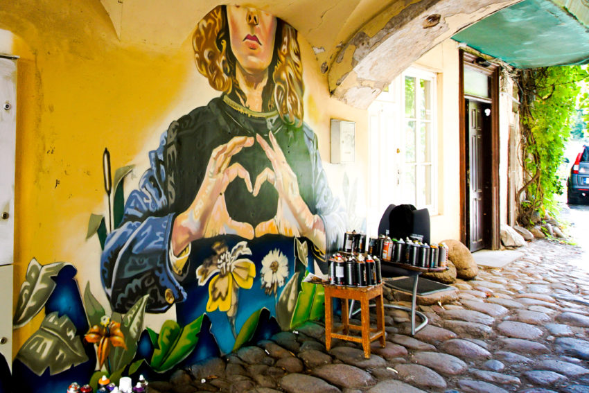 Gorgeous mural in Uzupis in Vilnius