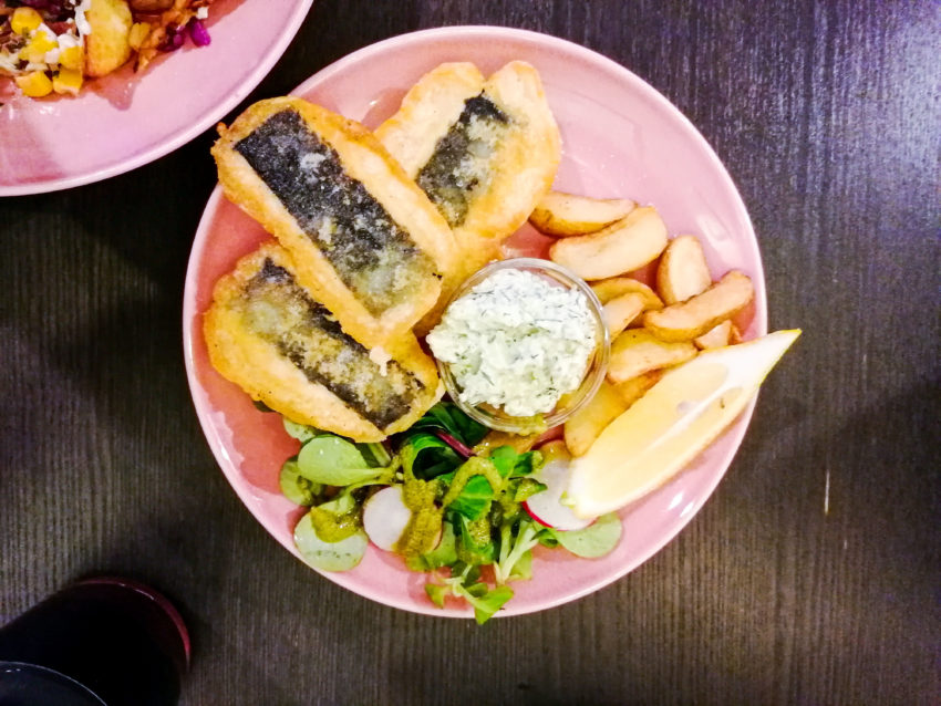 Vegan fish and chips in Vilnius