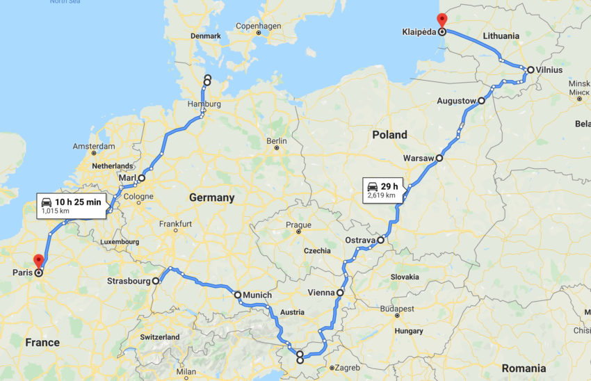 Map of our camper road trip in Central Europe with a baby
