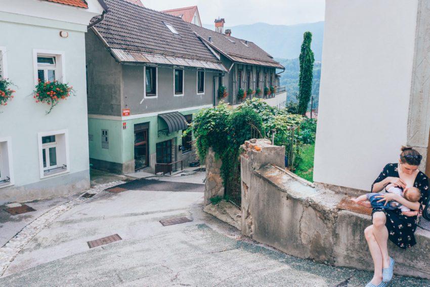 Breastfeeding baby in Radovljica, Slovenia