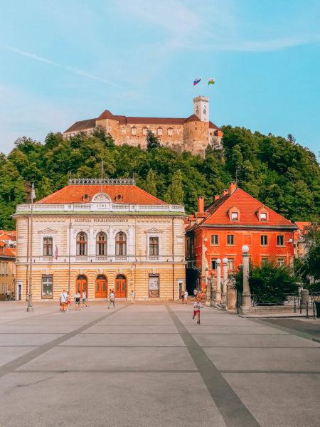 The main square and Ljubljana Castle in Slovenia