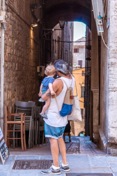 walking with a baby in Perugia