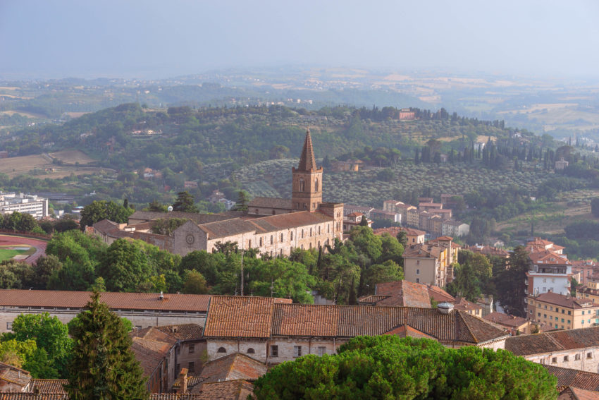 View of the etruscan city of Perugia in Umbria