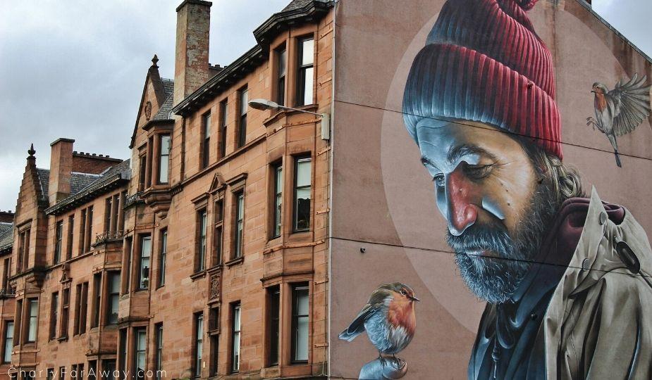 Fresque dans les rues de Glasgow pendant un voyage en Ecosse